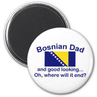 Papá bosnio apuesto imán redondo 5 cm