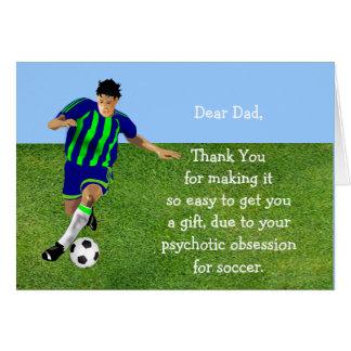 Papá cariñoso del fútbol tarjeta de felicitación