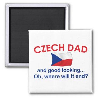 Papá checo apuesto imán cuadrado