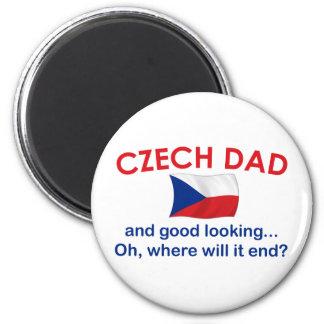 Papá checo apuesto imán redondo 5 cm