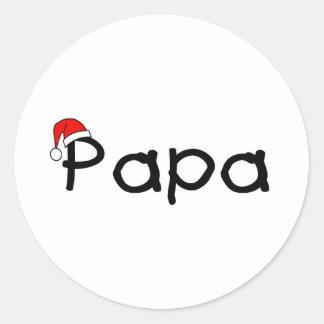 Papa Christmas Santa Hat Round Stickers