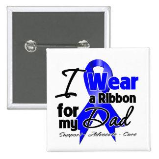 Papá - cinta del cáncer de colon pin cuadrada 5 cm