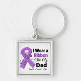 Papá - cinta del cáncer pancreático llavero cuadrado plateado