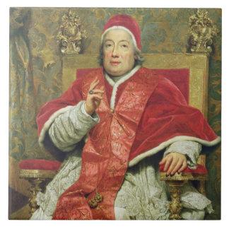 Papa Clemente XIII (1693-1769) (aceite en lona) Azulejo Cuadrado Grande