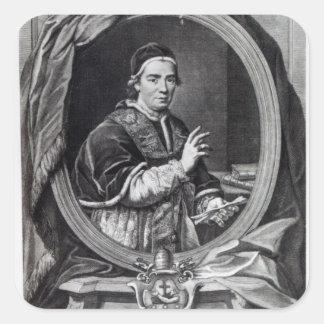 Papa Clemente XIV, grabado por Domencio Cunego Pegatina Cuadrada