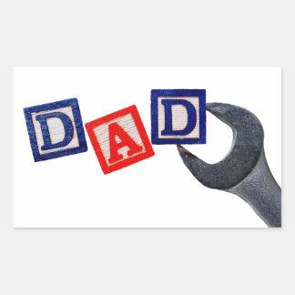 Papá con la llave pegatina rectangular