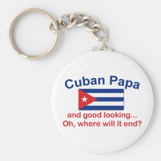 Papá cubana apuesta llavero redondo tipo pin