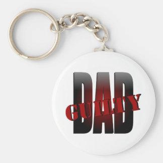 Papá: Culpable con el Shading y efectos rojos Llavero Redondo Tipo Pin