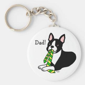 Papá de Boston Terrier con el lazo 1 Llaveros Personalizados