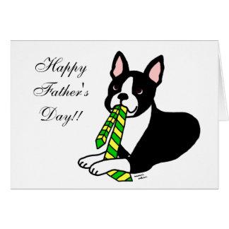 Papá de Boston Terrier con el lazo 1 Tarjeta De Felicitación