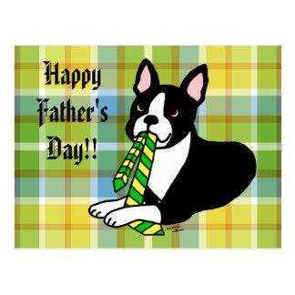Papá de Boston Terrier con el lazo 1 Tarjetas Postales