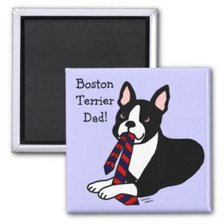 Papá de Boston Terrier con el lazo 2 Imanes De Nevera