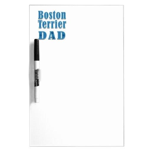 Papá de Boston Terrier Tableros Blancos