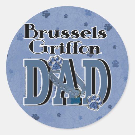 PAPÁ de Bruselas Griffon Etiquetas Redondas