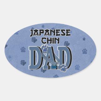 PAPÁ de Chin del japonés Pegatina Ovalada