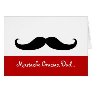 Papá de Gracias del bigote, tarjeta del día de