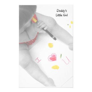 Papá de la niña del papá te amo con el corazón roj personalized stationery