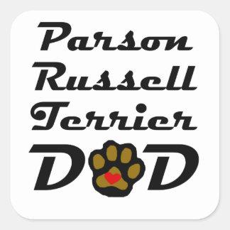 Papá de Russell Terrier del párroco Calcomanías Cuadradass Personalizadas