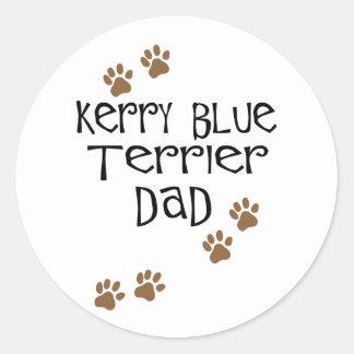 Papá de Terrier de azul de Kerry Pegatina Redonda
