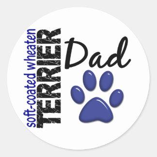 Papá de trigo Suave-Revestido 2 de Terrier Pegatinas Redondas