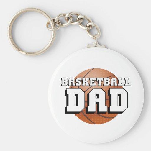 Papá del baloncesto llavero redondo tipo pin