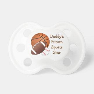 Papá del béisbol del fútbol del baloncesto de las  chupetes para bebés