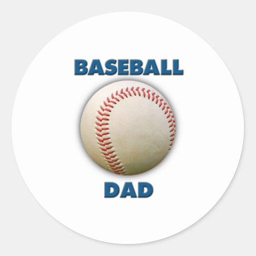 Papá del béisbol pegatina redonda