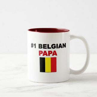 Papá del belga #1 taza de dos tonos