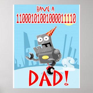 Papá del cumpleaños y poster binarios del día de p