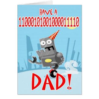 Papá del cumpleaños y tarjeta binarios del día de