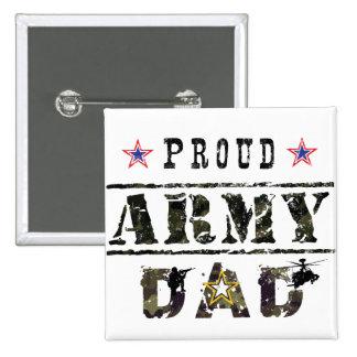 Papá del ejército pin cuadrado