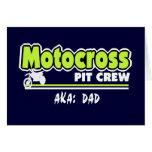 Papá del equipo en boxes del motocrós tarjeta