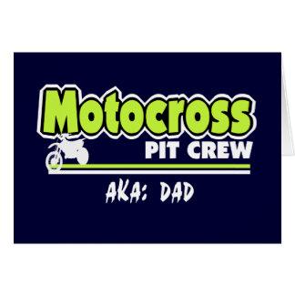 Papá del equipo en boxes del motocrós tarjeta de felicitación