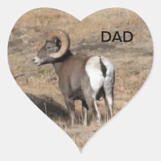 Papá del espolón del Big Horn Pegatina En Forma De Corazón