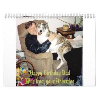 Papá del feliz cumpleaños, amor de su Abberdog Calendario De Pared