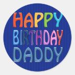 Papá del feliz cumpleaños - saludo colorido feliz pegatina