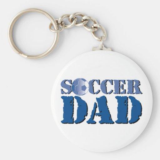 Papá del fútbol llavero redondo tipo pin