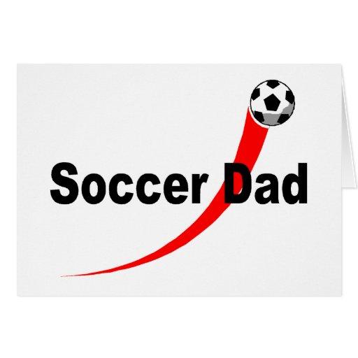 Papá del fútbol (rojo/negro) tarjeta de felicitación