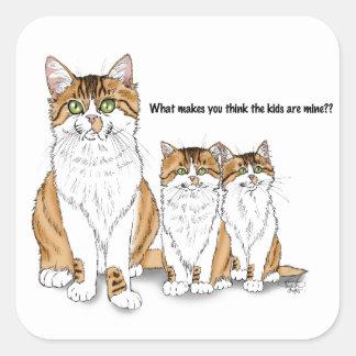 Papá del gatito pegatina cuadrada