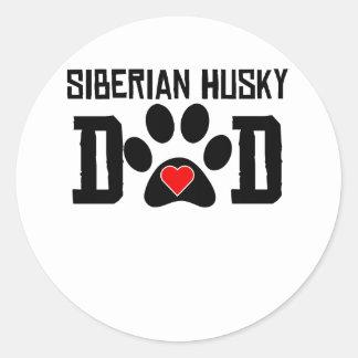 Papá del husky siberiano etiqueta redonda