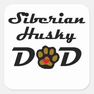 Papá del husky siberiano pegatinas cuadradases personalizadas
