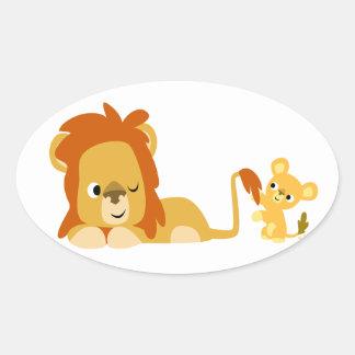 Papá del león del dibujo animado y pegatina lindos