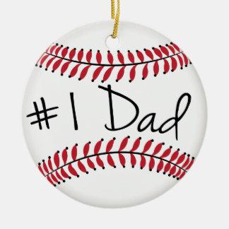 Papá del número uno en béisbol adorno navideño redondo de cerámica