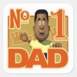 Papá del número uno calcomanía cuadradas personalizadas