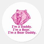 Papá del oso pegatina redonda
