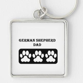 Papá del pastor alemán llavero cuadrado plateado