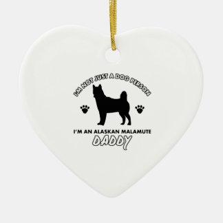 Papá del perro del MALAMUTE DE ALASKA Adorno Navideño De Cerámica En Forma De Corazón