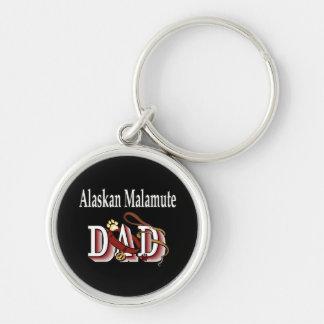 Papá del perro del Malamute de Alaska Llavero Redondo Plateado