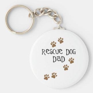 Papá del perro del rescate llavero redondo tipo pin