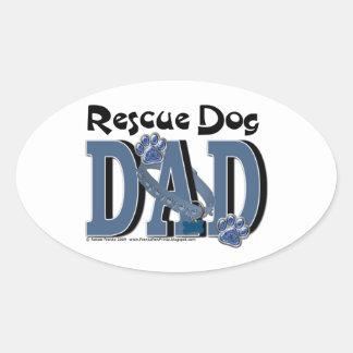 PAPÁ del perro del rescate Pegatina Ovalada